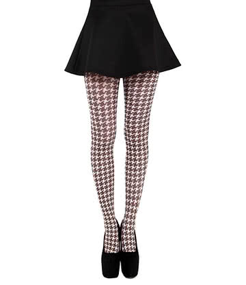 Pamela Mann Dogtooth Collants A Carreaux - Damier (Marron)