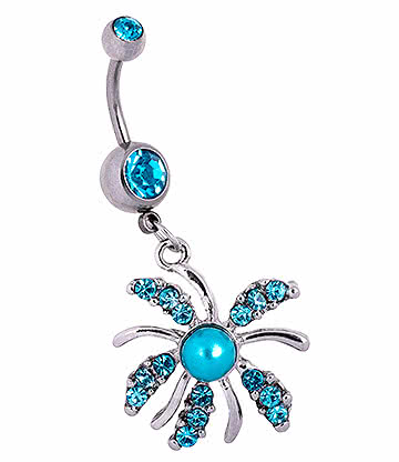 Blue Banana Surgical Steel 1.6mm Pearl Burst Double Jewelled Navel Bar (Aqua)