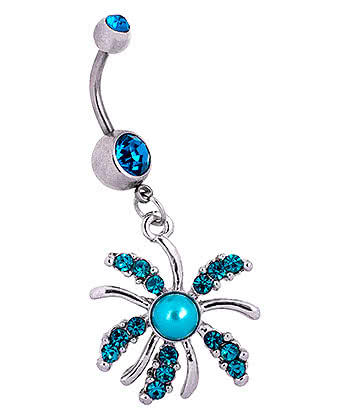 Blue Banana Surgical Steel 1.6mm Pearl Burst Double Jewelled Navel Bar (Zircon)