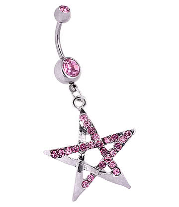 Blue Banana Surgical Steel 1.6mm Double Jewelled Chunky Pentagram Navel Bar (Pink)