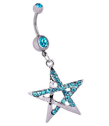 Blue Banana Surgical Steel 1.6mm Double Jewelled Chunky Pentagram Navel Bar (Aqua)