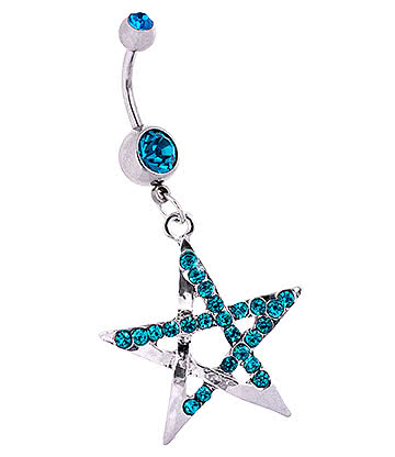 Blue Banana Surgical Steel 1.6mm Double Jewelled Chunky Pentagram Navel Bar (Zircon)