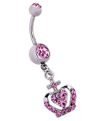 Blue Banana Surgical Steel 1.6mm Crown Double Jewelled Navel Bar (Rose)