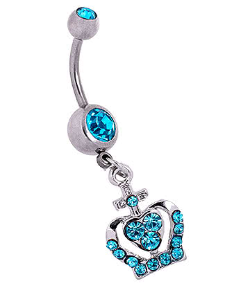 Blue Banana Surgical Steel 1.6mm Crown Double Jewelled Navel Bar (Aqua)