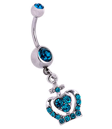 Blue Banana Surgical Steel 1.6mm Crown Double Jewelled Navel Bar (Zircon)