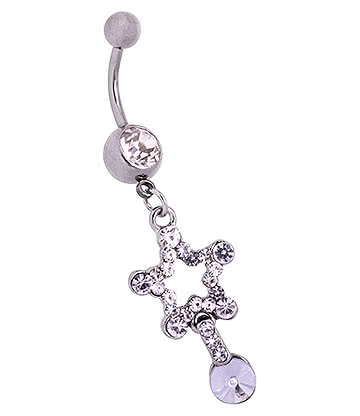 Blue Banana Surgical Steel 1.6mm Star Charm Jewelled Navel Bar (Crystal)