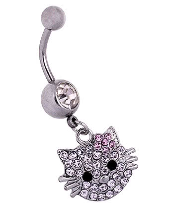 Blue Banana Surgical Steel 1.6mm Cat Face Jewelled Navel Bar (Rose)