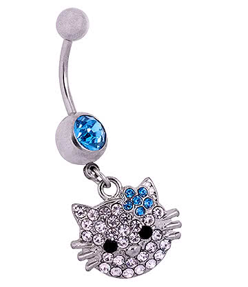 Blue Banana Surgical Steel 1.6mm Cat Face Jewelled Navel Bar (Aqua)