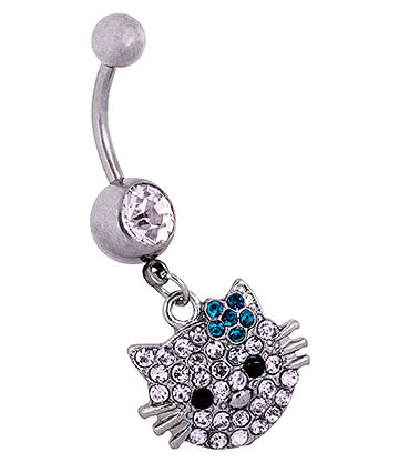 Blue Banana Surgical Steel 1.6mm Cat Face Jewelled Navel Bar (Zircon)