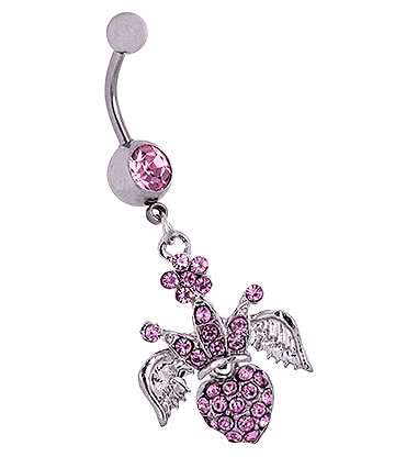 Blue Banana Surgical Steel 1.6mm Winged Crown Jewelled Navel Bar (Rose)