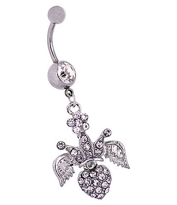 Blue Banana Surgical Steel 1.6mm Winged Crown Jewelled Navel Bar (Crystal)
