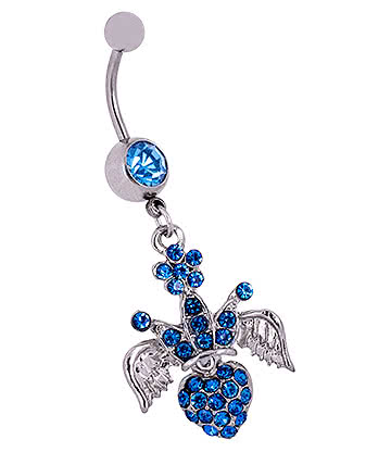Blue Banana Surgical Steel 1.6mm Winged Crown Jewelled Navel Bar (Aqua)