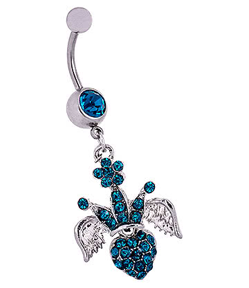 Blue Banana Surgical Steel 1.6mm Winged Crown Jewelled Navel Bar (Zircon)