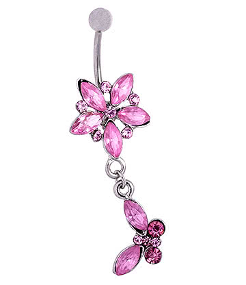 Blue Banana Surgical Steel 1.6mm Butterfly Dangle Jewelled Navel Bar (Rose)
