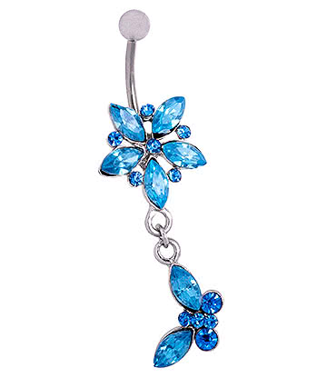 Blue Banana Surgical Steel 1.6mm Butterfly Dangle Jewelled Navel Bar (Aqua)