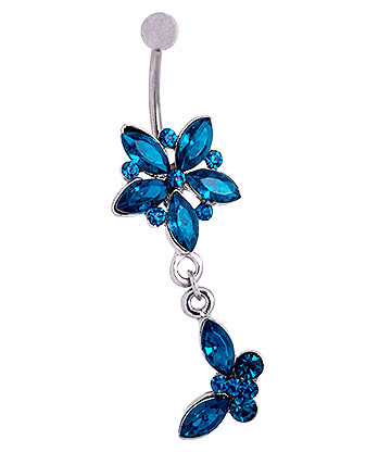 Blue Banana Surgical Steel 1.6mm Butterfly Dangle Jewelled Navel Bar (Zircon)