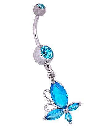Blue Banana Butterfly Navel Bar (Aqua)