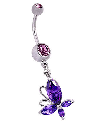 Blue Banana Butterfly Navel Bar (Violet)