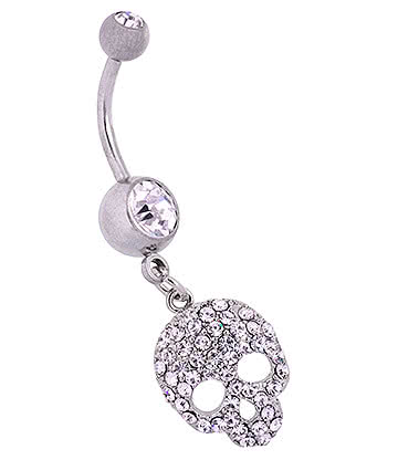Blue Banana Surgical Steel 1.6mm Skull Navel Bar (Crystal)