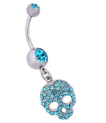 Blue Banana Surgical Steel 1.6mm Skull Navel Bar (Aqua)