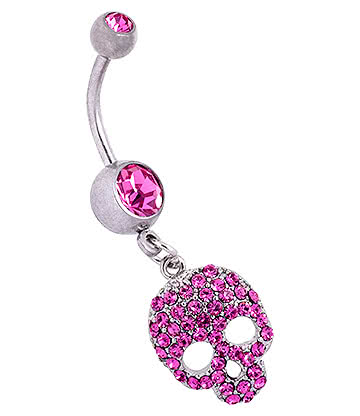 Blue Banana Surgical Steel 1.6mm Skull Navel Bar (Rose)