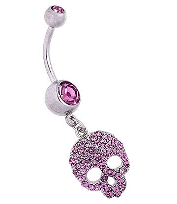 Blue Banana Surgical Steel 1.6mm Skull Navel Bar (Violet)