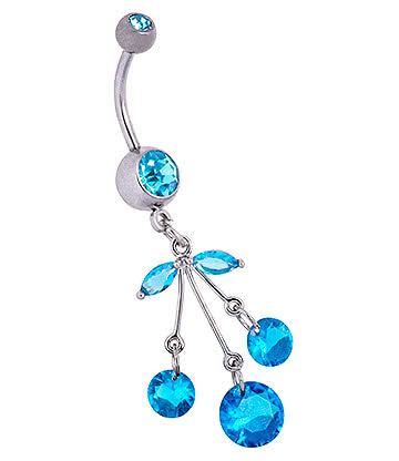 Blue Banana Surgical Steel 1.6mm Cherry Navel Bar (Aqua)