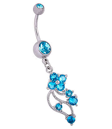Blue Banana Surgical Steel 1.6mm Double Jewelled Floral Navel Bar (Aqua)