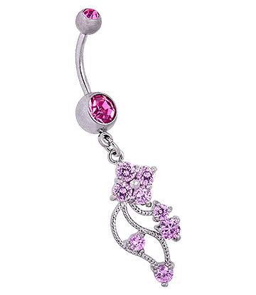 Blue Banana Surgical Steel 1.6mm Double Jewelled Floral Navel Bar (Rose)