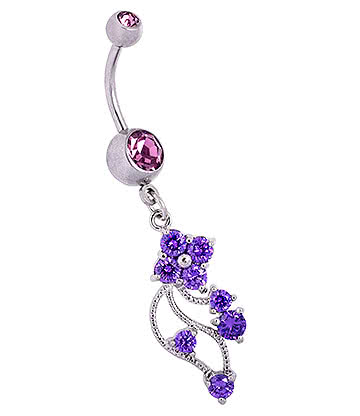 Blue Banana Surgical Steel 1.6mm Double Jewelled Floral Navel Bar (Violet)