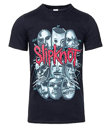 Official Slipknot Masks 2 T Shirt (Black)