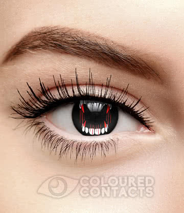 Dracula Fangs 90 Day Coloured Contact Lenses (Black)