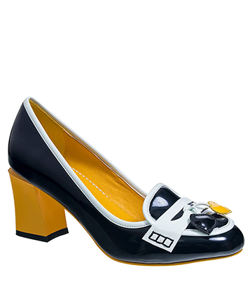 Banned Lust For Life High Heeled Shoes (Black/Yellow)