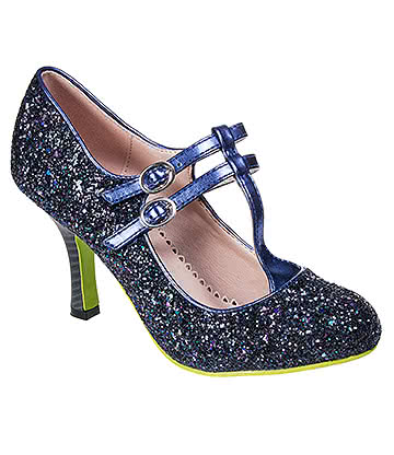 Banned Sound & Vision Glitter Heel Shoe (Blue)