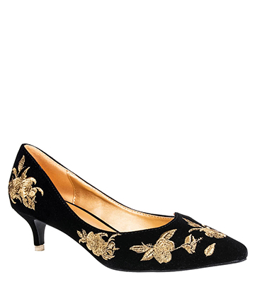 Banned Magic Dance Kitten Heels (Black/Gold)