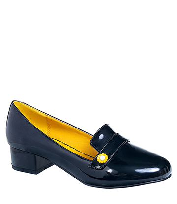 Banned Little Wonder Low Heeled Retro Shoe (Black/Yellow)