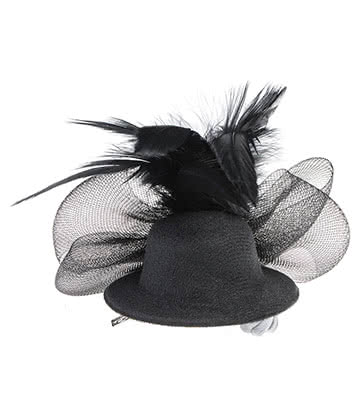 Blue Banana Mini Feathered Hat Fascinator (Black)