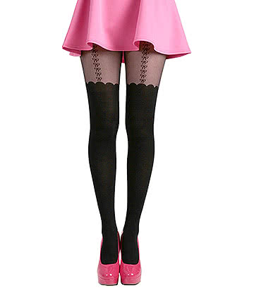 Pamela Mann Bow Suspender Tights (Black)