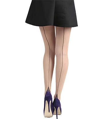 Pamela Mann Seamed Tights (Natural/Black)