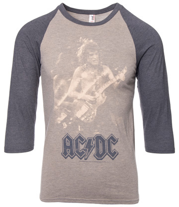 Official AC/DC Photo Raglan Top (Brown/Grey)