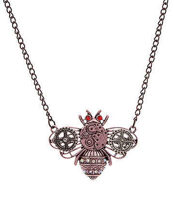 Blue Banana Steampunk Bee Necklace (Copper)