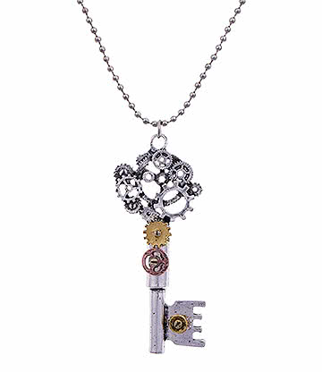 Blue Banana Steampunk Short Key Necklace (Silver)