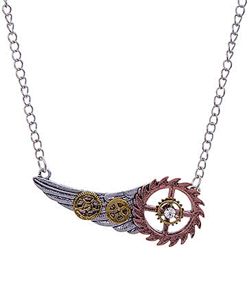 Blue Banana Steampunk Cog Wing Necklace (Silver)