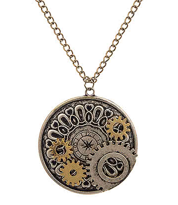 Blue Banana Steampunk Cog Necklace (Antique Gold)