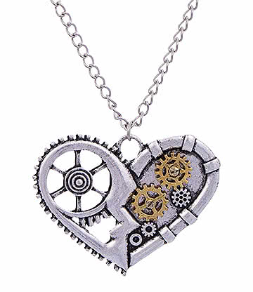 Blue Banana Steampunk Heart Cogs Necklace (Silver)