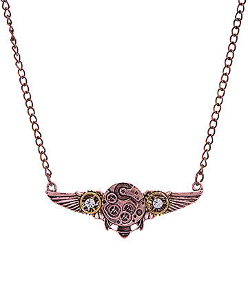 Blue Banana Steampunk Wing & Cogs Necklace (Copper)