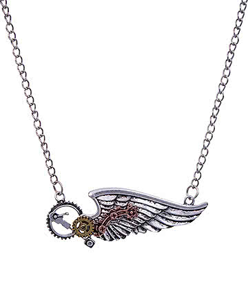 Blue Banana Steampunk Wing & Cogs Necklace (Silver)