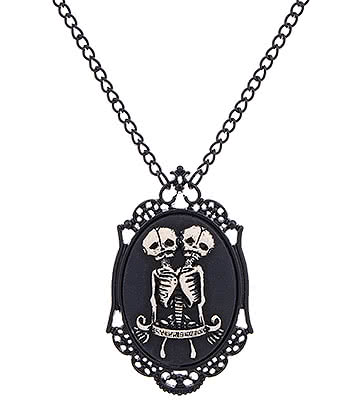 Blue Banana Steampunk Skeleton Necklace (Black)