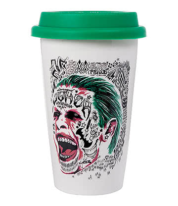 DC Comics Joker Suicide Squad Travel Mug (White/Green)