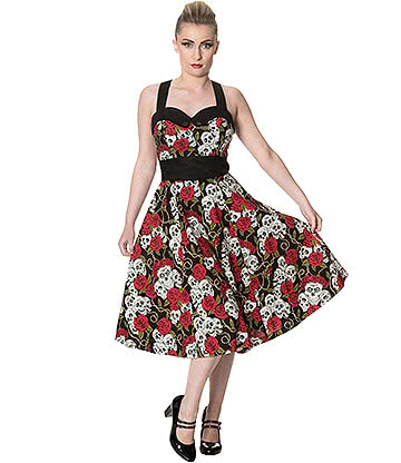 Banned Skull & Roses '50s Dress (Multicoloured)